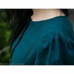 robe-midi-femme-manches-ballon-100-lin-lave-français-offon-maison-de-mamoulia-bleu-petrole-