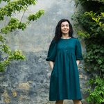 robe-midi-femme-manches-ballon-100-lin-lave-français-offon-maison-de-mamoulia-bleu-petrole