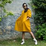 robe-midi-femme-manches-ballon-pur -lin-lave-français-offon-maison-de-mamoulia-jaune- moutarde-