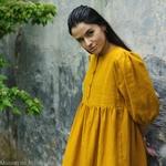 robe-midi-femme-manches-ballon-pur-lin-lave-bio-français-offon-maison-de-mamoulia-jaune- miel-