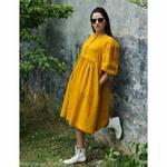 robe-midi-femme-manches-ballon-pur-lin-lave-bio-français-offon-maison-de-mamoulia-jaune-miel-