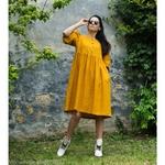 robe-midi-femme-manches-ballon-pur-lin-lave-français-offon-maison-de-mamoulia-jaune-miel-