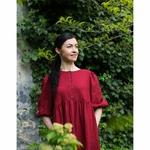 robe-midi-femme-manches-ballon-100-lin-lave-français-offon-maison-de-mamoulia-rouge-bordeau