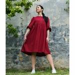 robe-midi-femme-manches-ballon-pur-lin-lave-français-offon-maison-de-mamoulia-rouge-bourgogne-