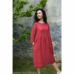 robe-midi-femme-manches-3-4-pur-lin-lave-français-offon-maison-de-mamoulia-rose- clair