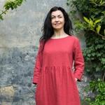 robe -midi-femme-manches-3-4-pur-lin-lave-français-offon-maison-de-mamoulia-rose