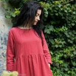 robe-midi-femme-manches-3-4-pur-lin-lave-français-offon-maison-de-mamoulia-rose