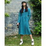 robe-midi-femme-manches-3-4-pur-lin-lave-français-offon-maison-de-mamoulia-bleu-turquoise