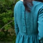 robe-midi-femme-manches-3-4-pur-lin-lave-français-offon-maison-de-mamoulia--bleu-turquoise