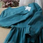 robe-midi-femme-manches-3-4-pur-lin-lave-français-offon-maison-de-mamoulia-bleu-turquoise-clair-