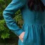robe-midi-femme-manches-3-4-pur-lin-lave-français-offon-maison-de-mamoulia--bleu-turquoise-