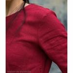 robe-midi-femme-manches-3-4-pur-lin-lave-français-offon-maison-de-mamoulia-rouge--bordeaux