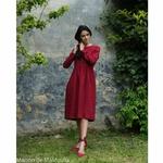 robe-midi-femme-manches-3-4-pur-lin-lave-français-offon-maison-de-mamoulia-rouge-bourgogne-