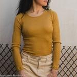 minimalisma-gerda -Golden Leaf- tshirt-top-femme-manches-longues-soie-coton-maison-de-mamoulia-jaune-moutarde--