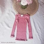 181-4 - Bergen 2-6Y - Antique Red -tshirt-soie-enfant-rose -maison-de-mamoulia