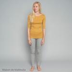 234 -Gym - Golden Leaf - tshirt-femme-soie-coton-maison-de-mamoulia