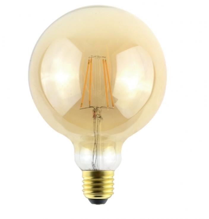 Ampoule Globe LED G125 7,5W E27 Ambrée 2500°K