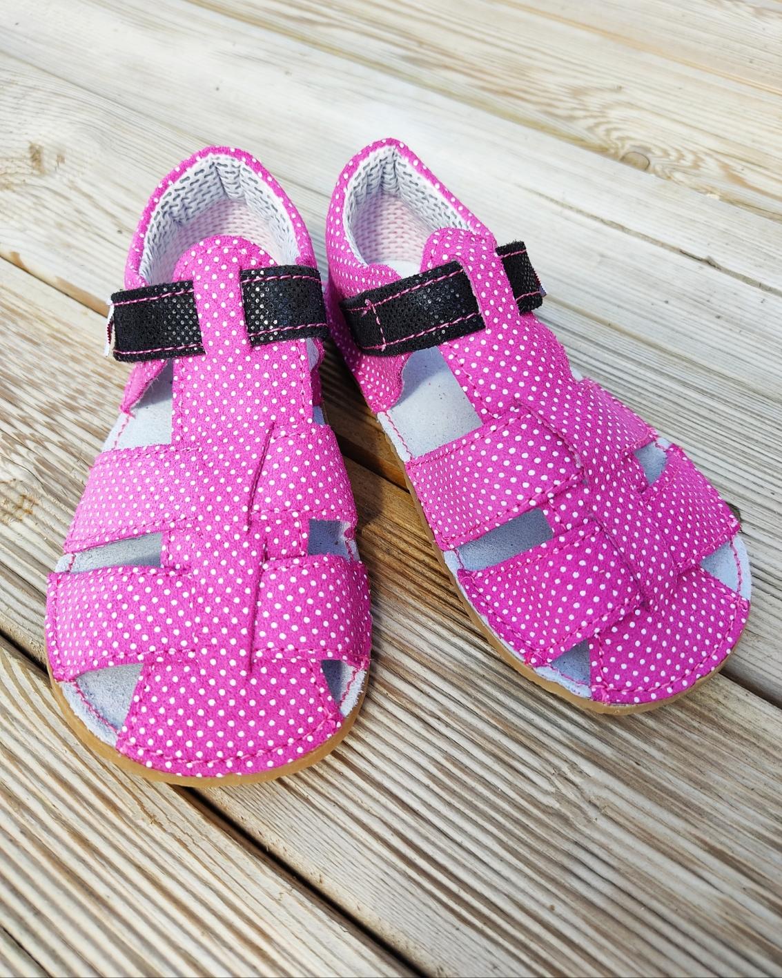 Sandales EF Barefoot - rose à pois blancs