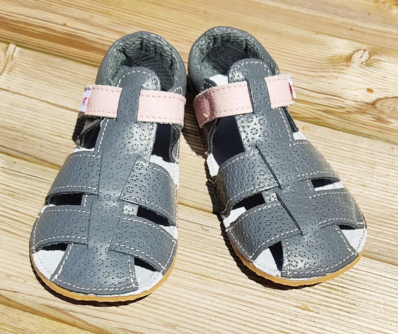 Sandales EF Barefoot - gris anthracite et rose