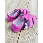 Sandales ef barefoot rose à pois sur la boutique liberty pieds (1)