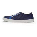 baskets ALL IN bicolore bleues AM12 profil gauche sur la boutique Liberty Pieds