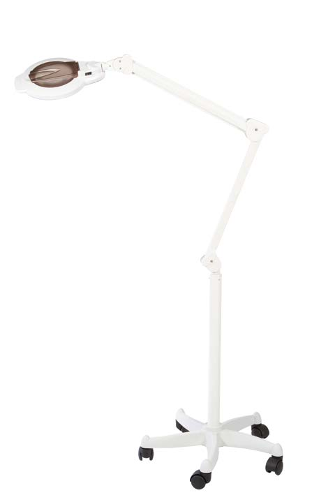 79cc4802f0 Lampe-loupe à LED, 3 dioptries avec petite zone focale à 8 dioptries, sur  pied à roulettes, CRUX