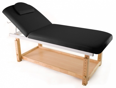 table de massage fixe en bois avec dossier rabattable et. Black Bedroom Furniture Sets. Home Design Ideas