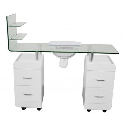 table manucure en bois blanc avec plan de travail et. Black Bedroom Furniture Sets. Home Design Ideas