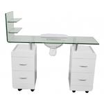 Table manucure en bois blanc avec plan de travail et étagères en verre trempé, PEZI
