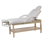 Table de massage fixe en bois naturel, réglable en hauteur, LONG Naturel