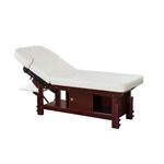 Table de massage fixe en bois réglable en hauteur avec caisson de rangement, JIH