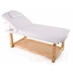 Table de massage  fixe en bois avec dossier rabattable et plateau de rangement