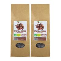 Fèves de cacao crues Bio AB non torréfiées 1 kg (2x500g)