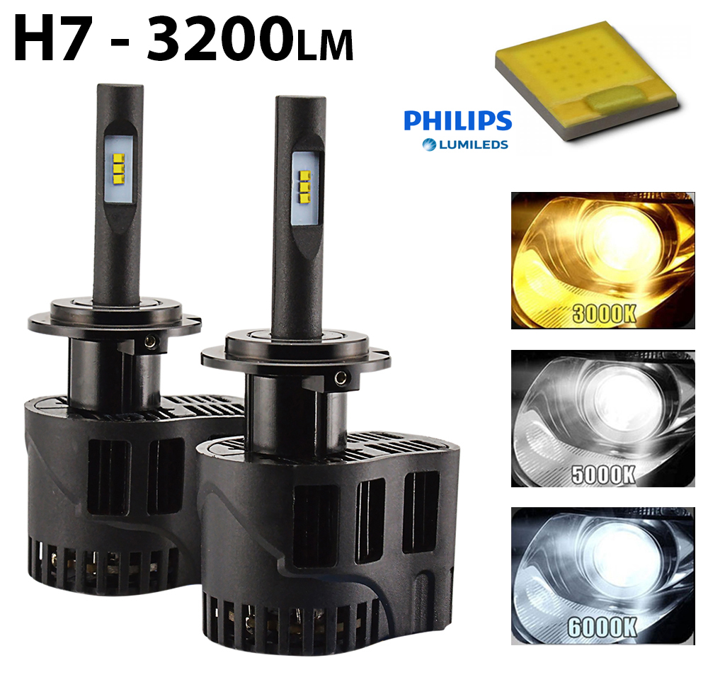 2 x ampoules h7 led philips luxeon 3200 lumens hightech privee. Black Bedroom Furniture Sets. Home Design Ideas