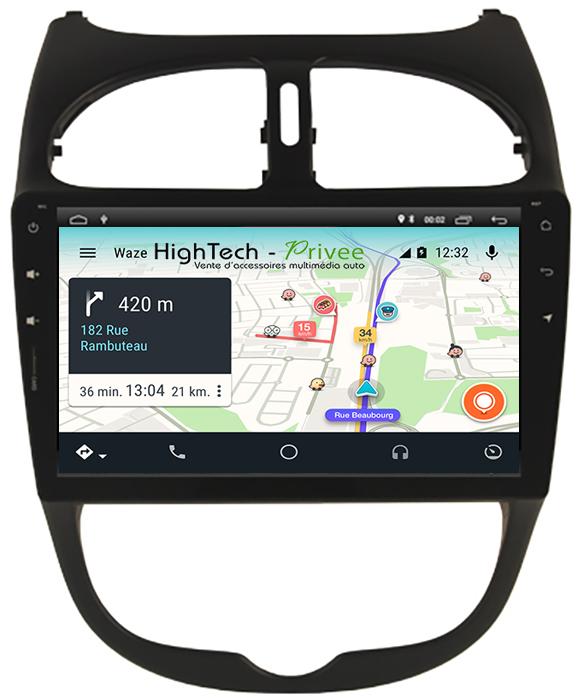 Autoradio écran tactile GPS Android 10 Wifi Peugeot 206