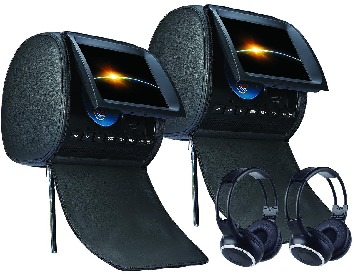 Paire d\'appui tête avec écran tactile 22cm, Lecteur CD/DVD et USB/SD