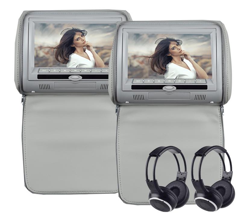 Paire d\'appui tête avec écran tactile 22cm HD, port USB et lecteur CD/DVD, colori Grey