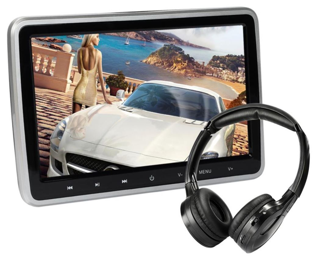 Appui tête à écran tactile 26cm, CD/DVD, port HDMI/USB/SD et résolution 1080P