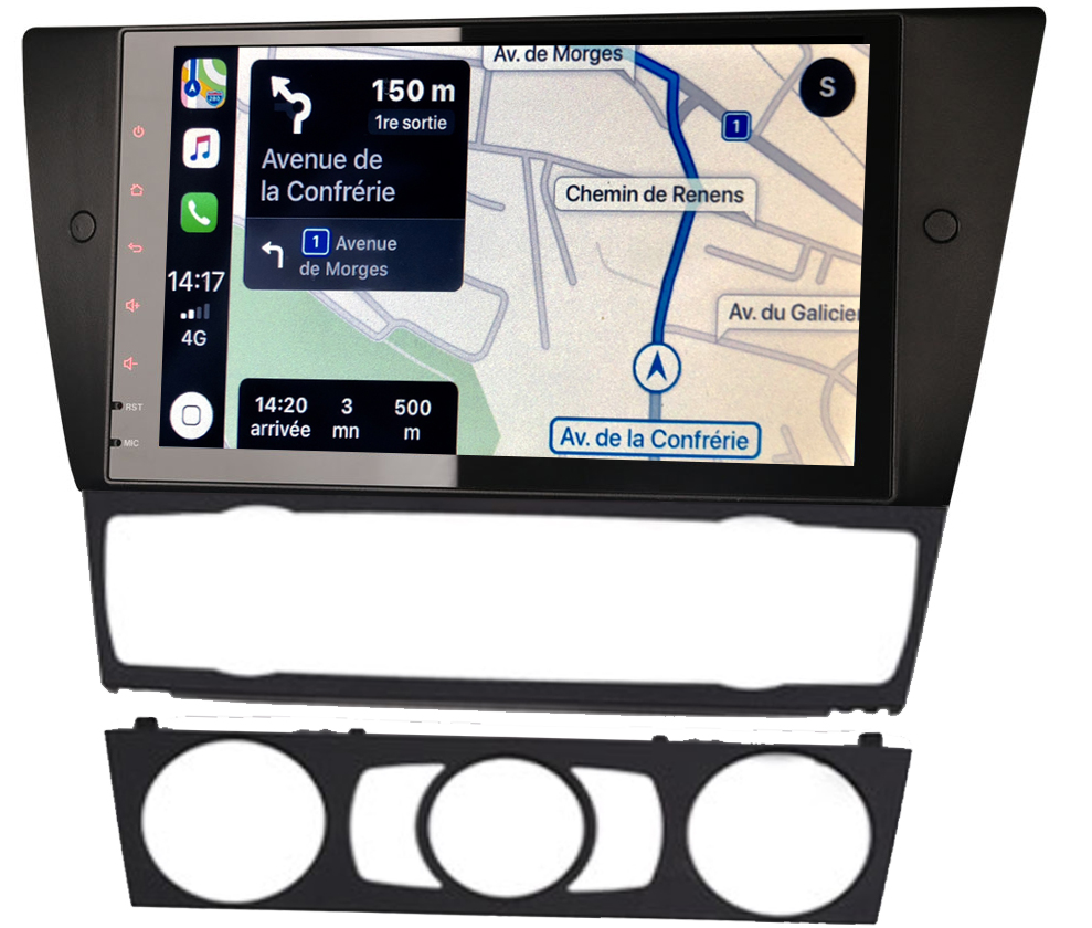 Autoradio tactile GPS Android 9.0 et Apple Carplay BMW Série 3 de 2005 à 2012
