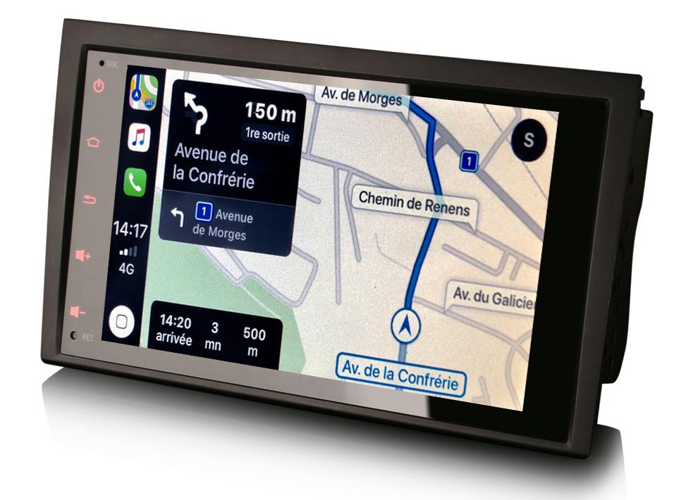 Autoradio tactile GPS Android 10.0 et Apple Carplay Audi A4 de 2001 à 2007