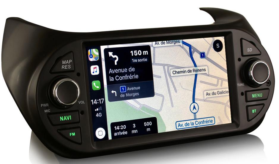 Autoradio tactile GPS Android 10.0 et Apple Carplay Peugeot Bipper de 2008 à 2017