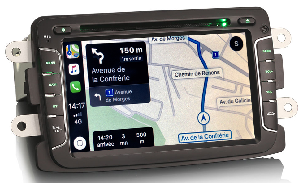 Autoradio tactile GPS Android 10.0 et Apple Carplay Dacia Lodgy Logan Dokker Duster et Sandero