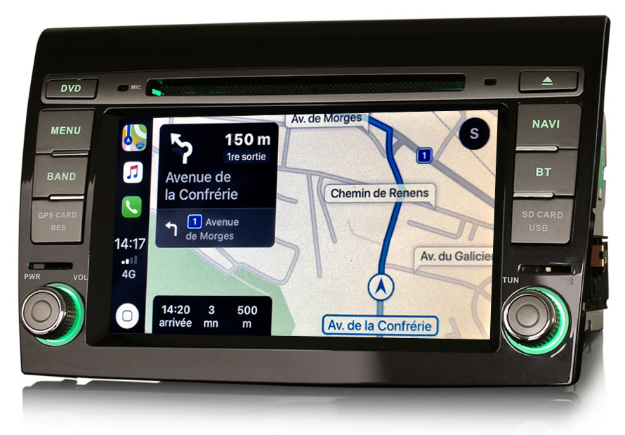 Autoradio tactile GPS Android 10.0 et Apple Carplay Fiat Bravo