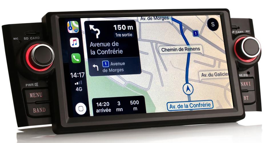 Autoradio tactile GPS et Apple Carplay Fiat Grande Punto de 2005 à 2009