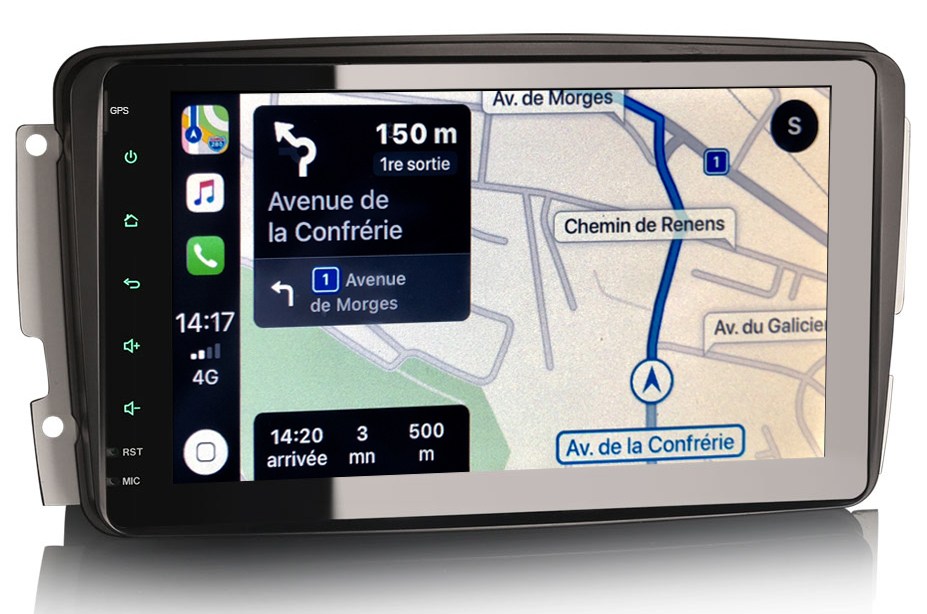 Autoradio tactile GPS Android 9.0 et Apple Carplay Mercedes Classe C W203, CLK, Vito, Viano et Classe G
