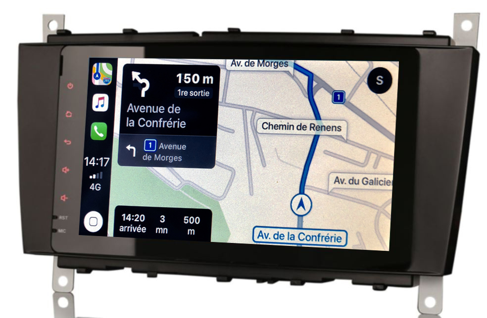 Autoradio tactile GPS Android 9.0 et Apple Carplay Mercedes Classe C de 2004 à 2007 et CLC de 2008 à 2010