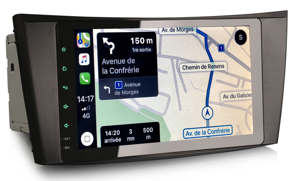 Autoradio tactile GPS Android 9.0 et Apple Carplay Mercedes Classe E, Classe G et CLS