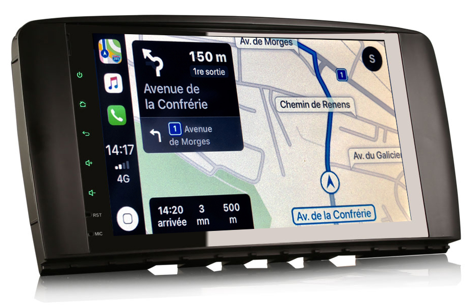 Autoradio tactile GPS Android 9.0 et Apple Carplay Mercedes Classe R de 2006 à 2012