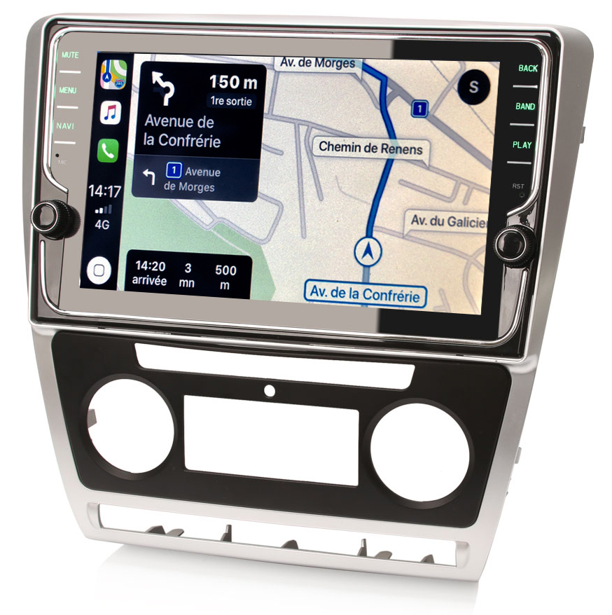 Autoradio tactile GPS Android 9.0 et Apple Carplay Skoda Octavia de 2008 à 2013