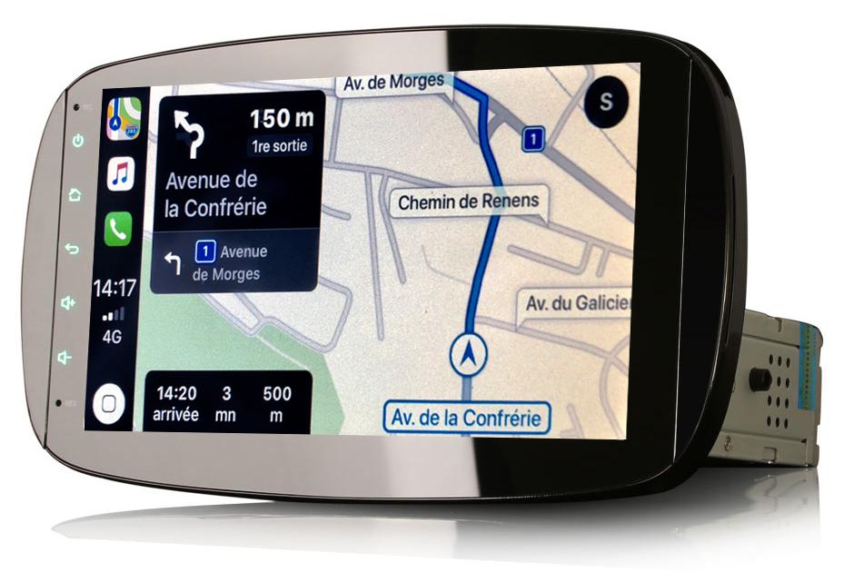 Autoradio tactile GPS Android 10.0 et Apple Carplay Smart Fortwo de 2015 à 2019